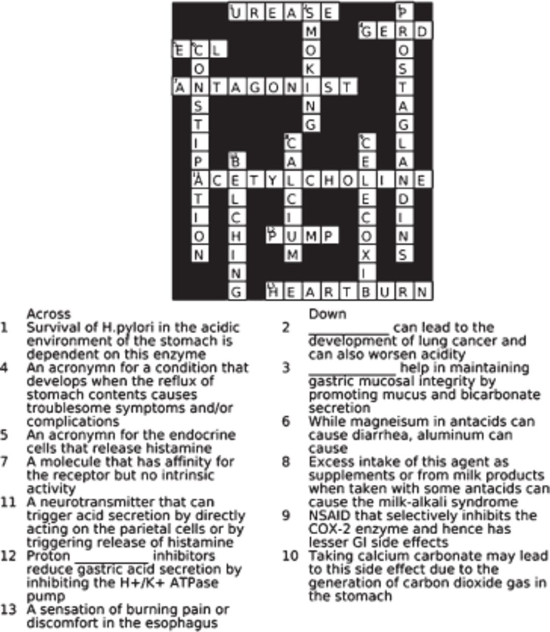 Crossword Puzzles As A Tool To Enhance Learning About Anti Ulcer Agents American Journal Of Pharmaceutical Education